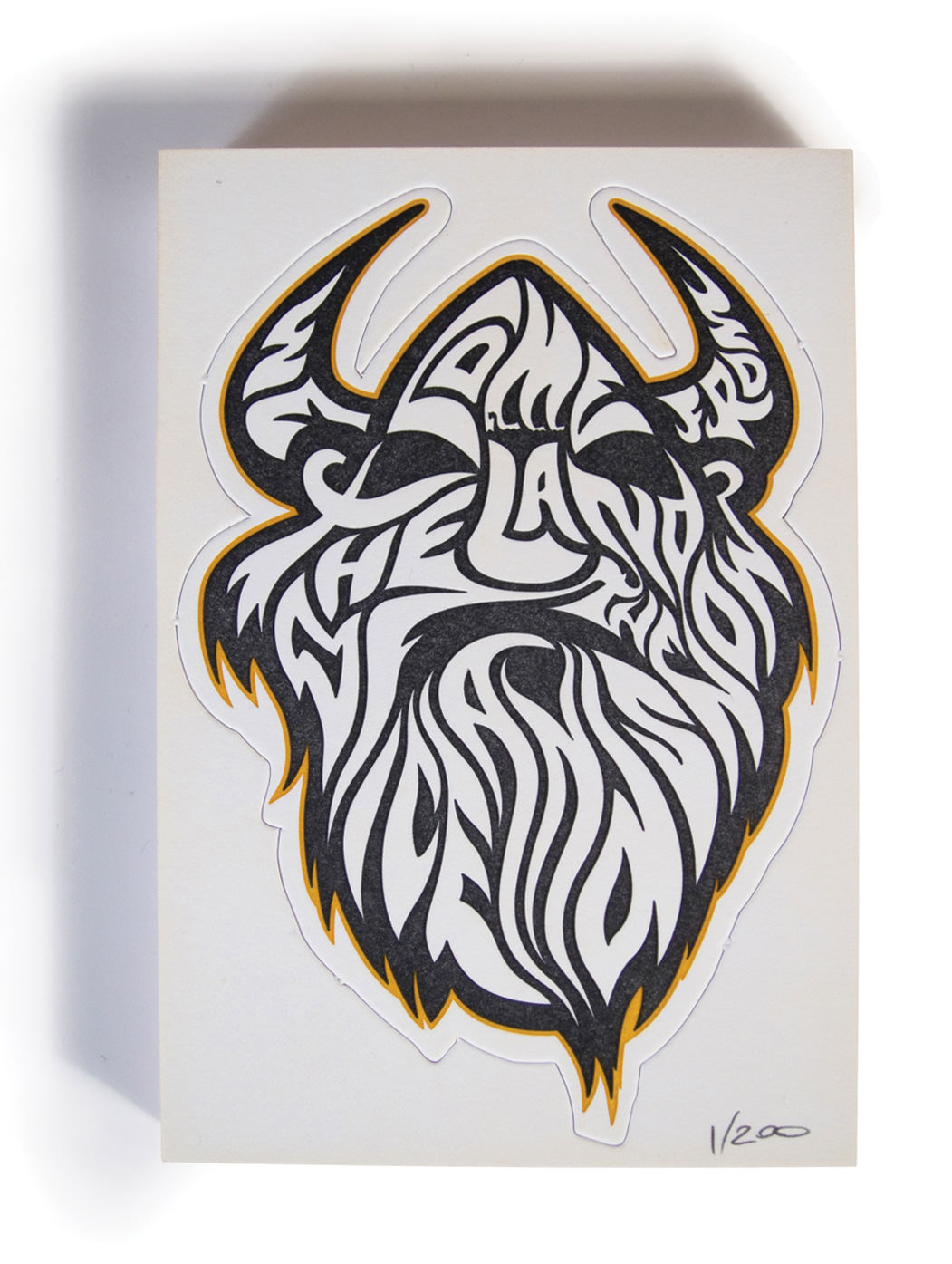 Valhalla Viking Letterpress Coastercard