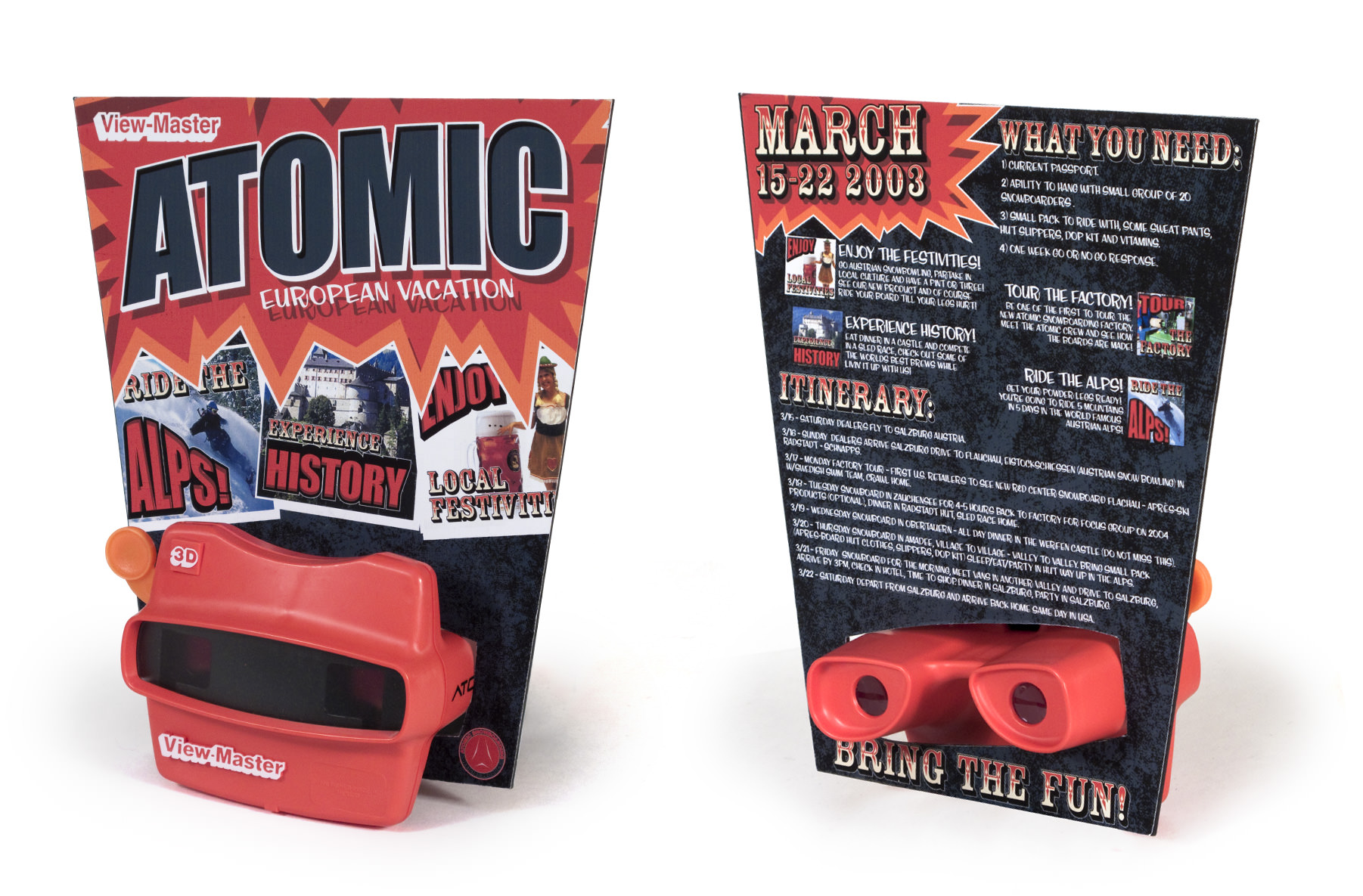 Atomic Snowboarding - Viewmaster trip invitation