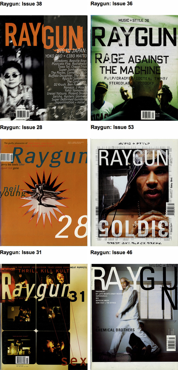 Raygun magazine covers - David Carson